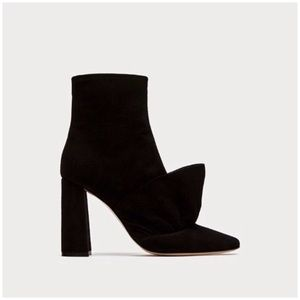 Zara Black Suede High Heeled Frill Boots Fit 7-7.5